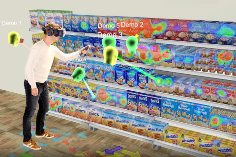 Tobii Pro VR Analytics and HTC VIVE Pro Eye for shopper research with eye tracking measurements