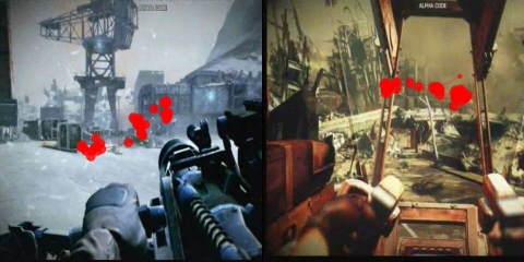 Gaze plots overlaid on the Guerrilla Games' Killzone 3 video game.