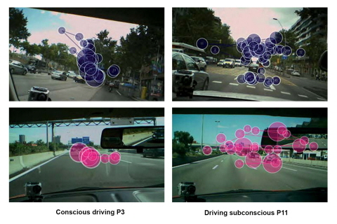 Gaze plots illustrating attention pattern while driving a car.