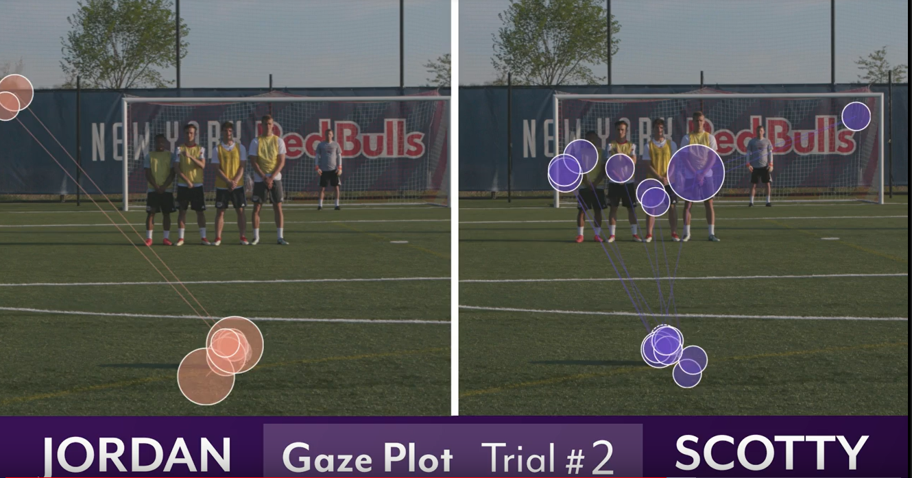 Soccer gaze plot eye tracking