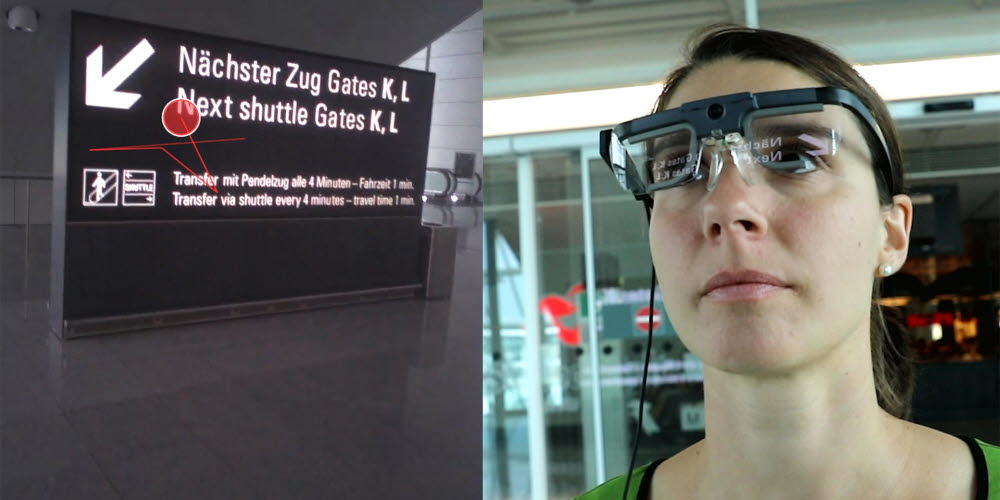 looking at signs with eye tracking glasses