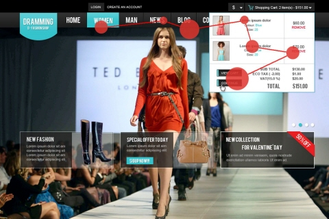 E-commerce Website with Gaze Plot from Tobii Studio Software