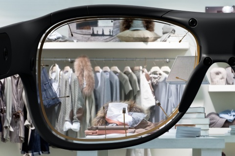 A clothing store shelf layout viewed through Tobii Pro Glasses 3