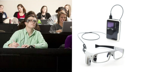 A student wearing Tobii Pro Glasses 1 and following the lecture.