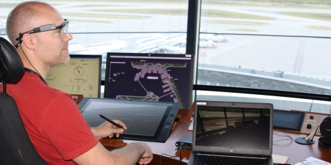 Tobii Pro Glasses 2 are used for the operator assessment study at the air traffic control room