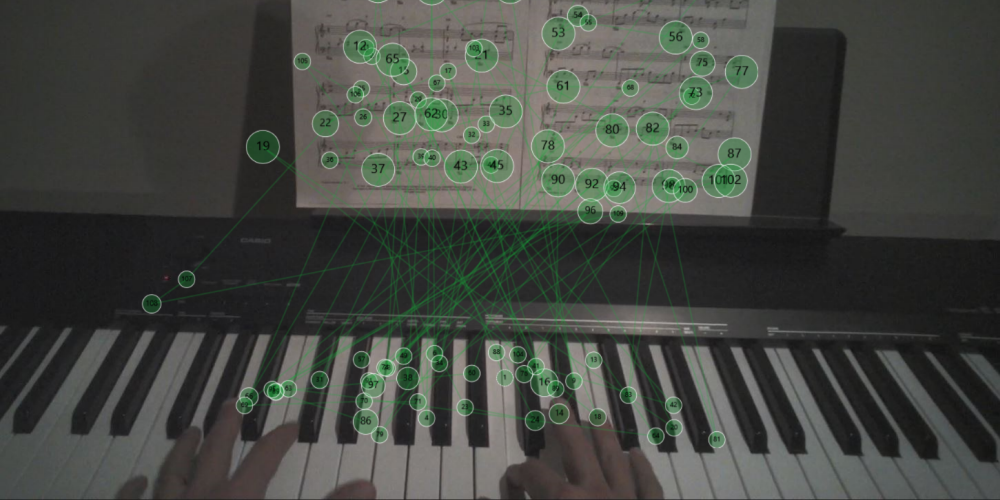 Using eye tracking to view where a piano musician looks