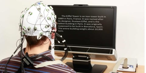 A person wearing EEG reads a text from the Tobii Pro TX300 screen.
