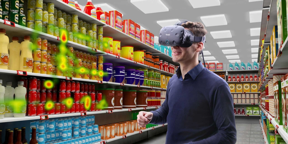 Tobii eye tracking integrated HTC Vive for shopper and consumer research