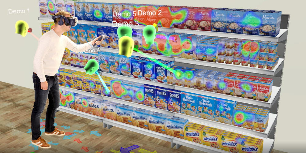 Tobii Pro VR Analytics with HTC Vive Pro Eye used in shopper research