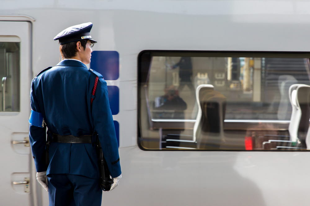 Train conductor in Japan
