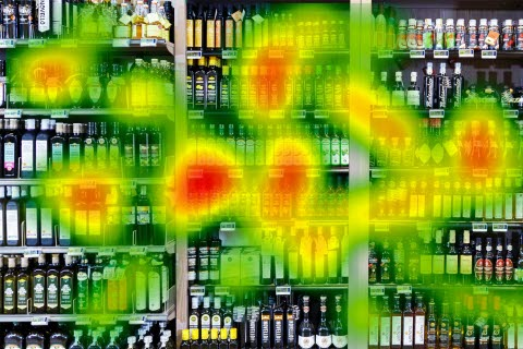 A screen shot a store shelf with a heat map overlay.