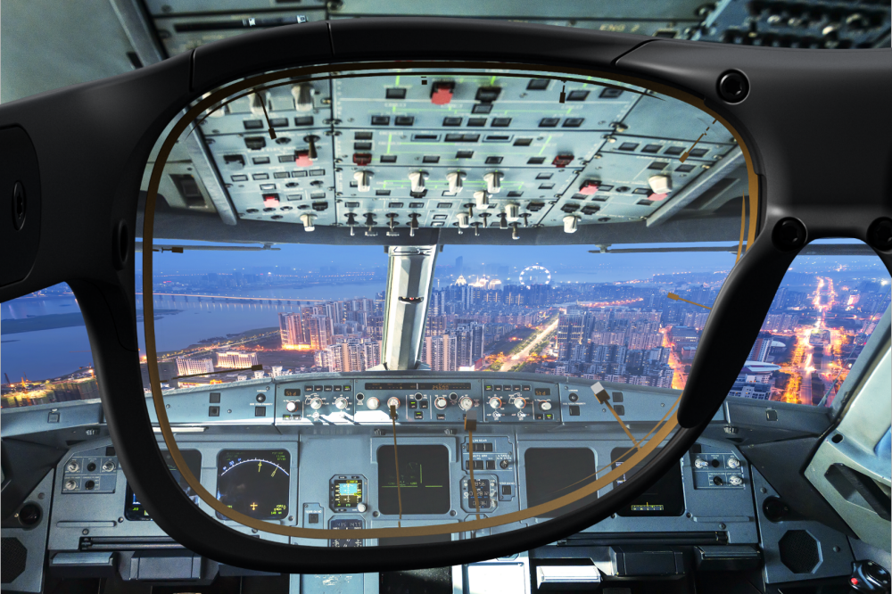 Viewing a plane cockpit through Glasses 3