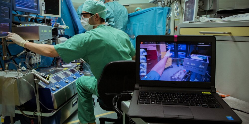 Tobii Pro Glasses 2 used for medical stuff training both in real and simulated environments